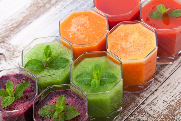 Tomato, cucumber, carrot, beet juice and vegetables