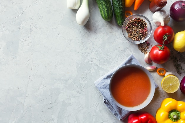 Tomato gazpacho soup with fresh vegetables