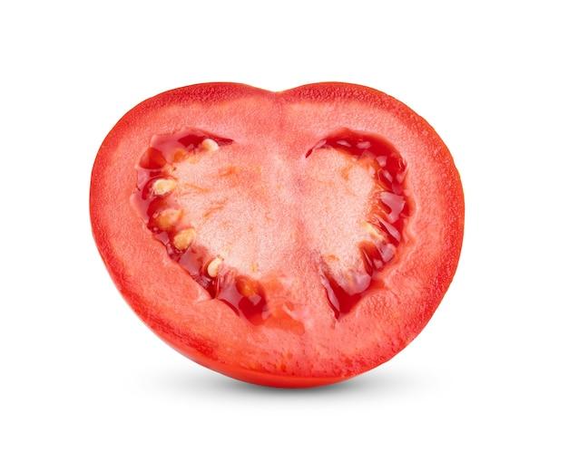 トマト。白い背景で半分分離