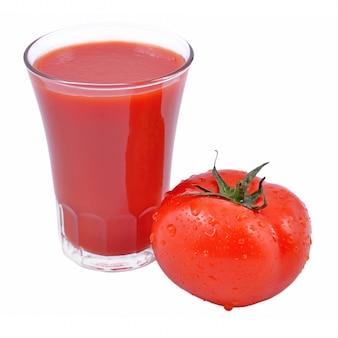 白地にトマトジュースとトマト