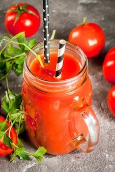 Tomato juice in mason jar