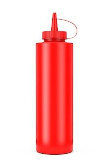 Бутылка соуса томатного кетчупа на белой предпосылке. 3d рендеринг