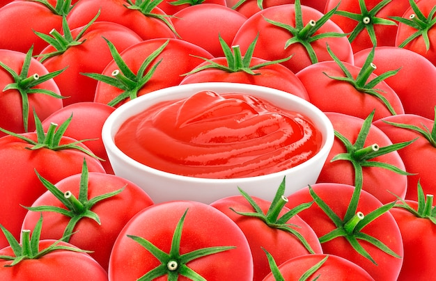 Tomato ketchup on tomatoes, red tomato texture.