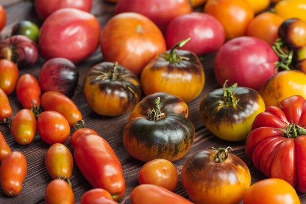 古い木の上のトマト。ダークウッドの背景に新鮮な大小のトマト。