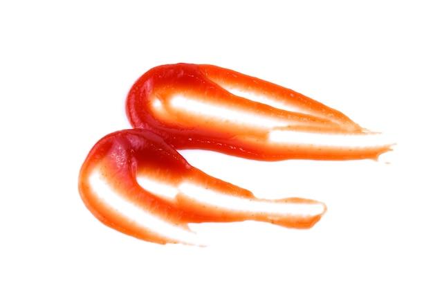 토마토 소스 또는 케첩 흰색 배경에 고립