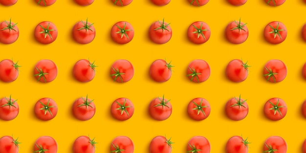 Tomato seamless pattern isolated on white , flat lay, top view