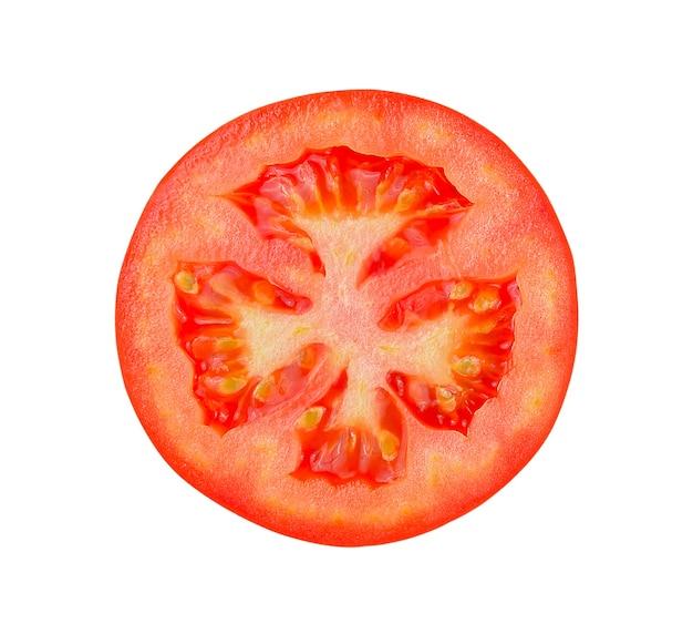 토마토 슬라이스 흰색 배경에 고립입니다. 클리핑 패스