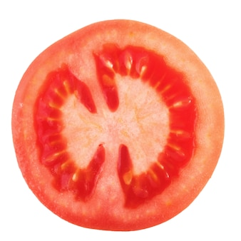 Tomato slice isolated, top view