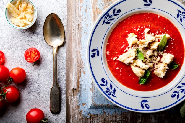Tomato soup  and fresh tomatoes cherry .gazpacho