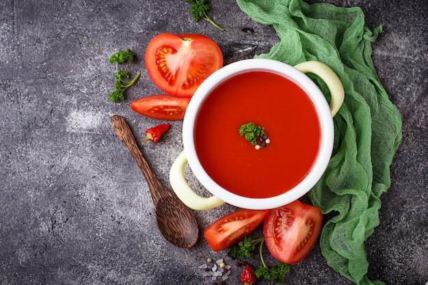 Tomato soup. healthy vegan food. selective focus