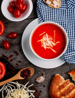 Tomato soup with cheese and cherry tomatoes