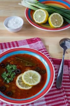 Tomato soup with lemons