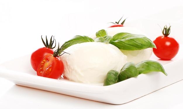 Tomatoes, basil and mozzarella