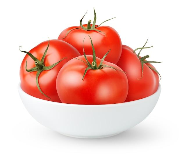 白で隔離の白いセラミックボウルのトマト