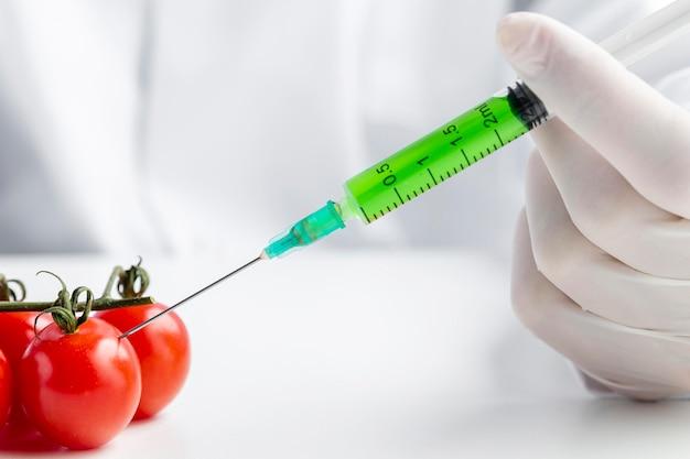 Pomodori iniettati con close-up di sostanze chimiche