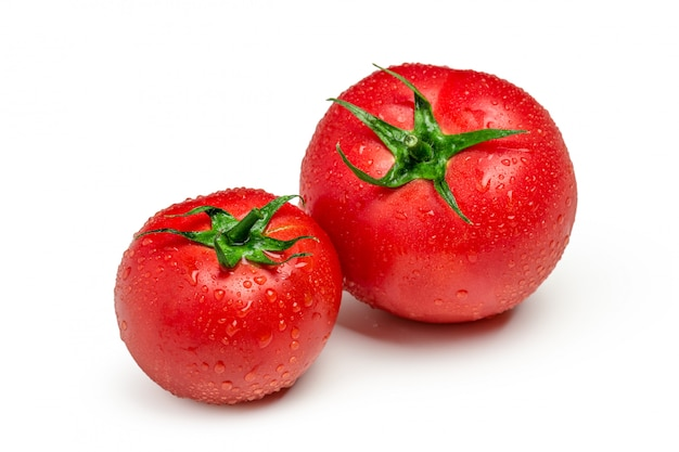 Tomatoes isolated. two fresh raw vegetables