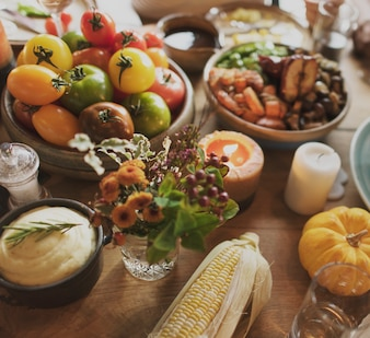 Tomatoes Mashed Potato Corn Thanksgiving Celebration Concept