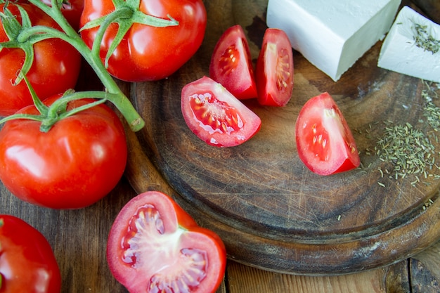 Tomatoes and white greek cheese