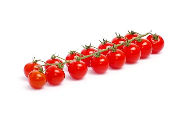 흰색 배경에 고립 된 녹색 잎 토마토