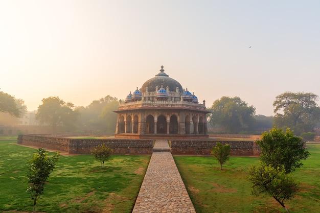 Tomb of isa khan, india, new dehli, beautiful sunrise.