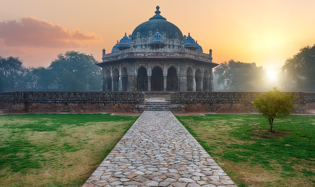 Tomb of isa khan, mysterious sunrise view, india.