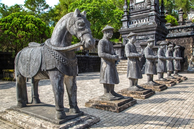 Tomb of khai dinh with manadarin honour guard in hue, vietnam