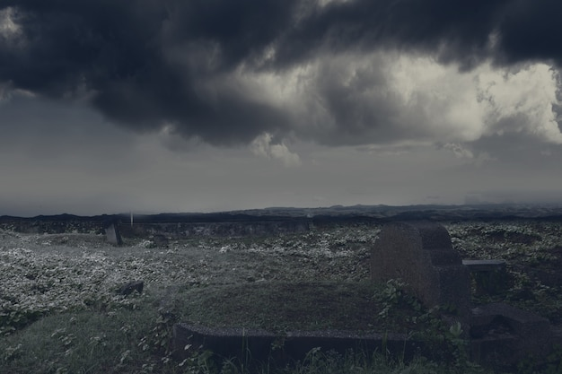 Tombstones on the graveyard with the dramatic scene background. halloween concept