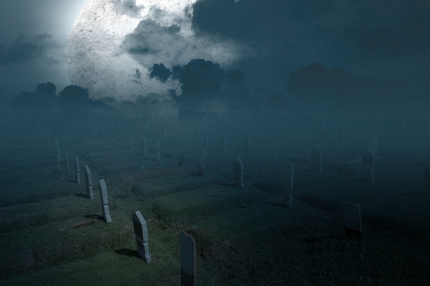 Tombstones on the graveyard with full moon background. halloween concept