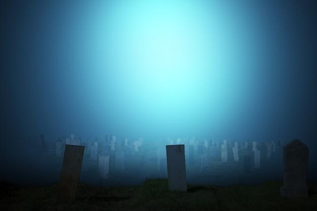 달빛 배경으로 묘지에 삭제 표시입니다. 할로윈 컨셉