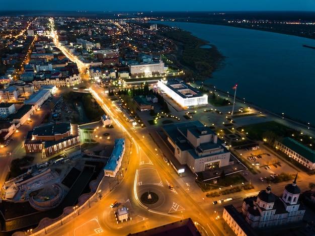 Tomsk nigth illumination. cityscape aerial view of tom river. siberia, russia.