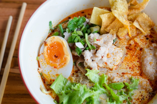 Tomyum noodle with pork and egg