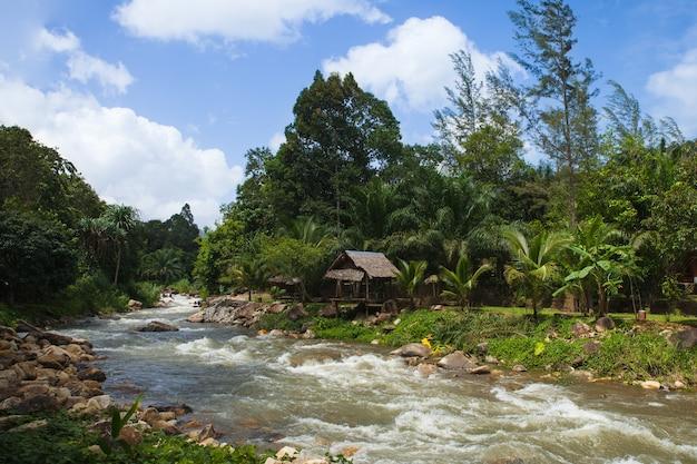Ton pariwat waterfall or namtok song phraek. located on phang nga, southern of thailand.