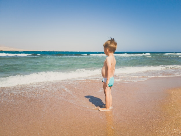 Toned image of 3 years old toddler boy standing on the sea beach and looking at horizon. child relaxing and having good time during summer holiday vacation.
