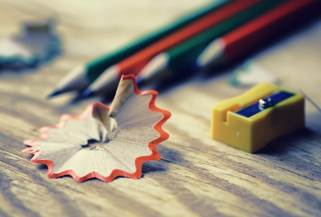 Toned pencil sharpener trash wood