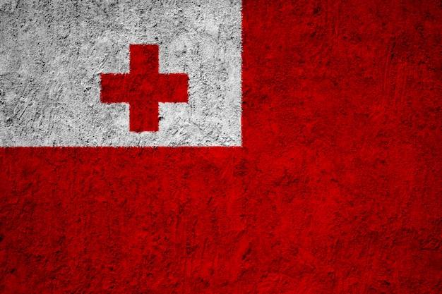 Tonga flag painted on grunge wall