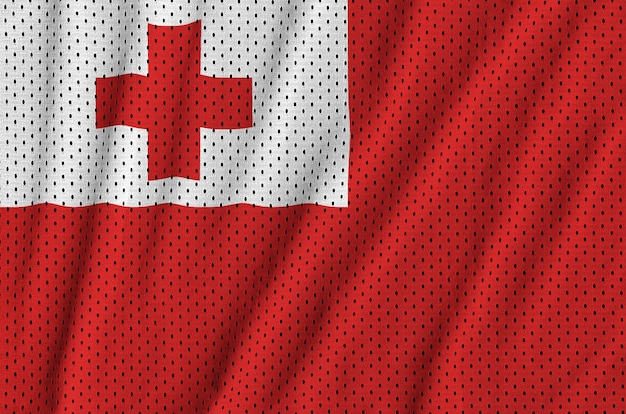 Tonga flag printed on a polyester nylon sportswear mesh fabric