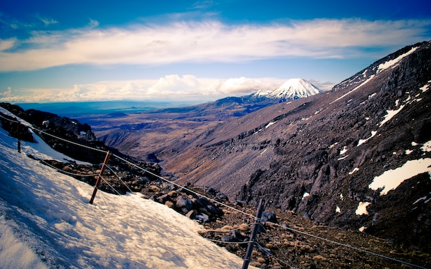 Tongariro snowy volcano, in new zealand.