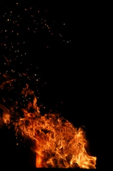 燃える薪からのオレンジイエロー色の火の炎の舌