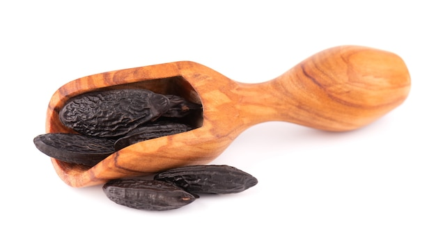 Tonka beans in wooden scoop, isolated