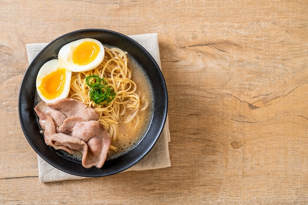Tonkotsu ramen noodles with pork and egg
