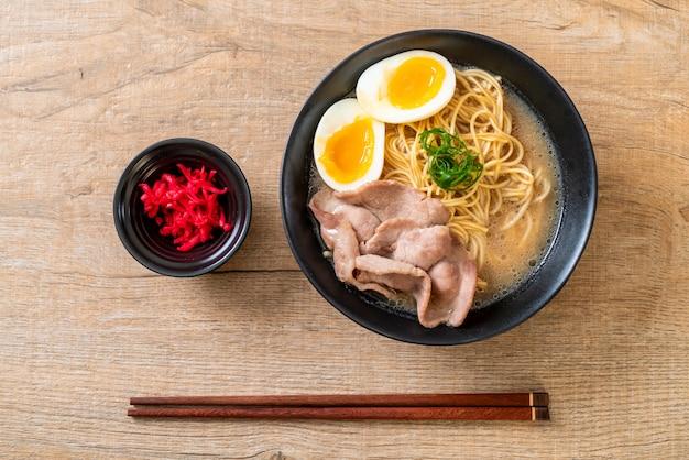 Tonkotsu ramen noodles with pork and egg