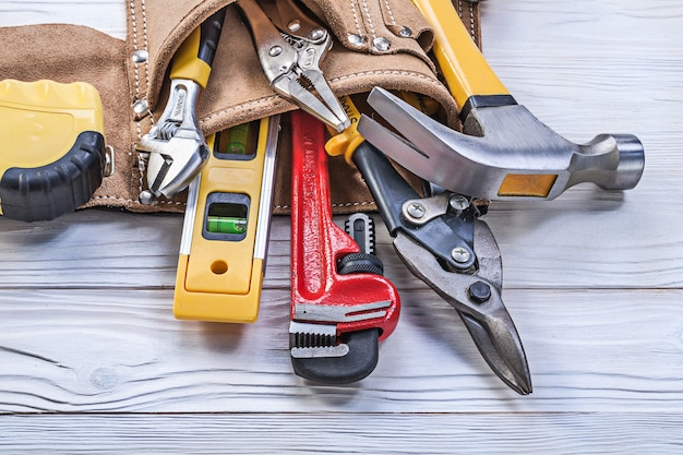 Tool belt pliers construction level tape line claw hammer pipe wrench adjustable spanner