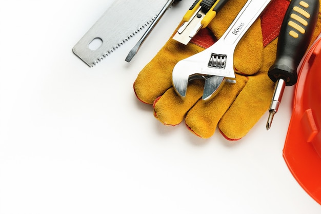 Tool for building a house or repairing an apartment, on a white background. the workplace of the foreman. theme of home and professional repair and construction. copy space for text. banner.