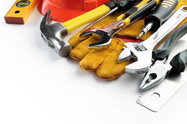 Tool for building a house or repairing an apartment, on a white background.