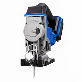 The tool is a blue electric jigsaw on a white isolated background. 3d rendering.