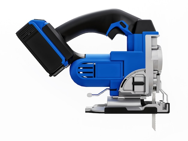 The tool is a blue electric jigsaw on a white isolated