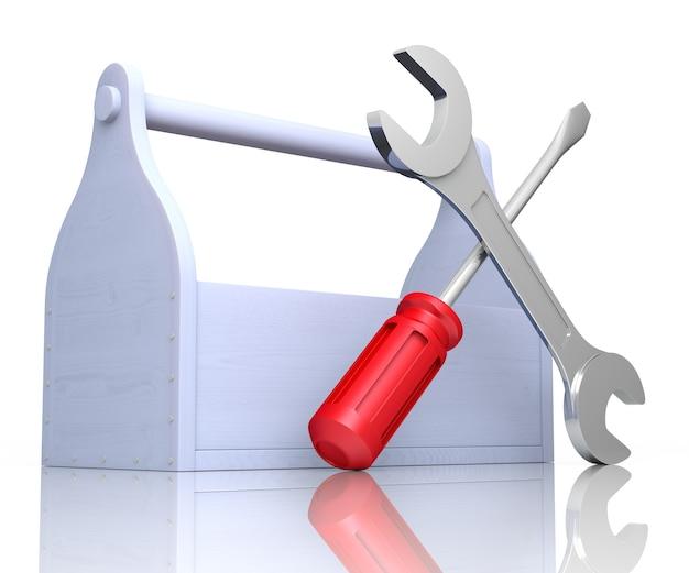 도구가 있는 도구 상자. 스크루드라이버와 렌치. 3d 렌더링