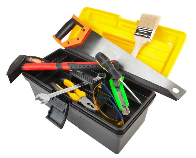 Toolbox with working toolsisolated on white