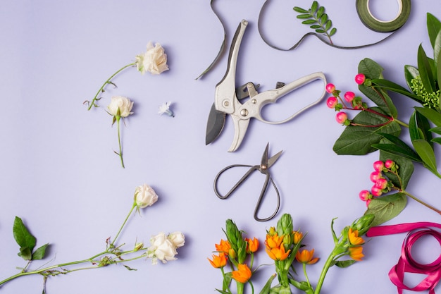 花屋が花束を作るために必要な道具とアクセサリー