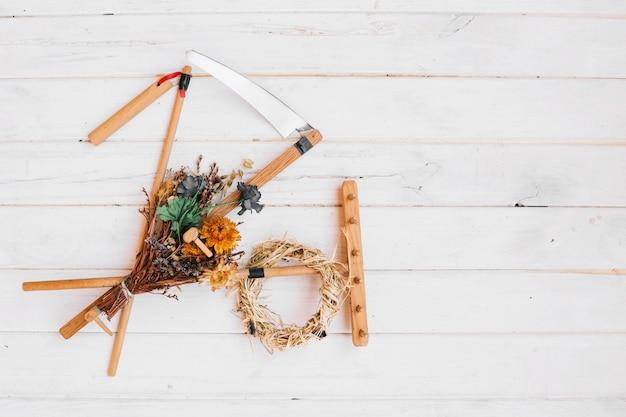 Инструменты и сушеный пучок